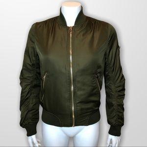 Topshop Bomber Jacket Insulated Zip Green